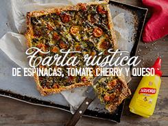 Receta Tarta Rústica de Espinacas, Tomates Cherry y Queso