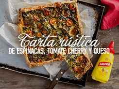 eceta Tarta Rústica de Espinacas, Tomates Cherry y Queso